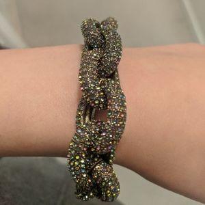 JCrew large multicolor cz link bracelet